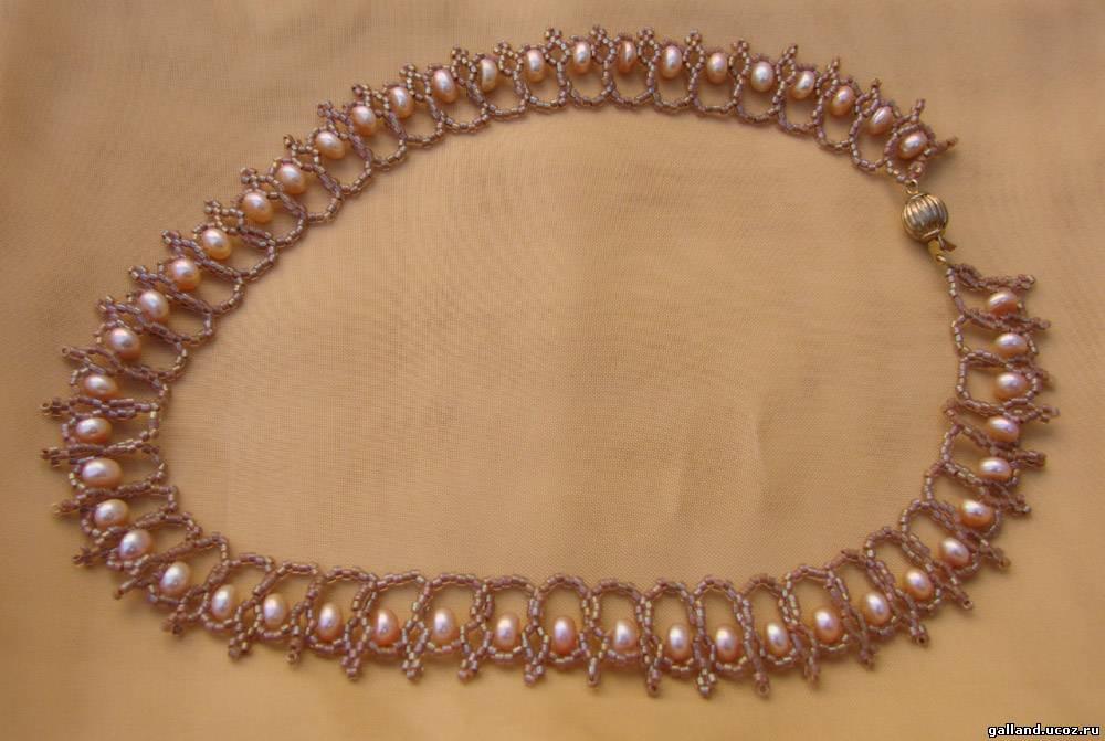 Ожерелье жемчуг с бисером своими руками